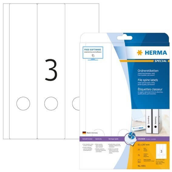 HERMA 4831 Inkjet Ordneretiketten A4 61x297 mm weiß Papier matt 75 Stück