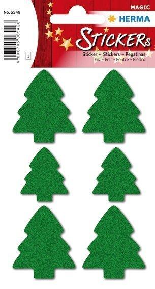 HERMA 6549 10x Sticker MAGIC Weihnachtsbäume Filz