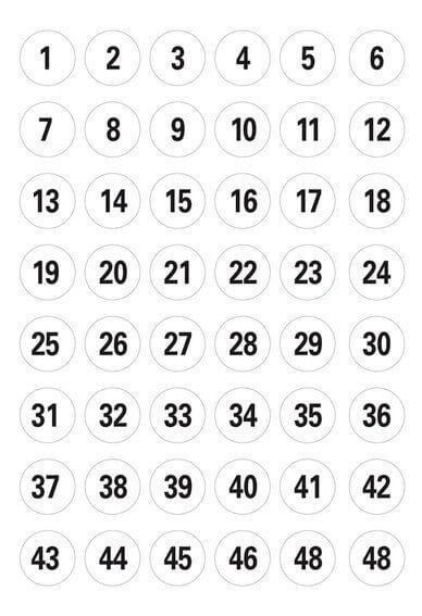 HERMA 4124 Zahlen Ø 12 mm 1-240 Papier weiß schwarz 50 Bl.