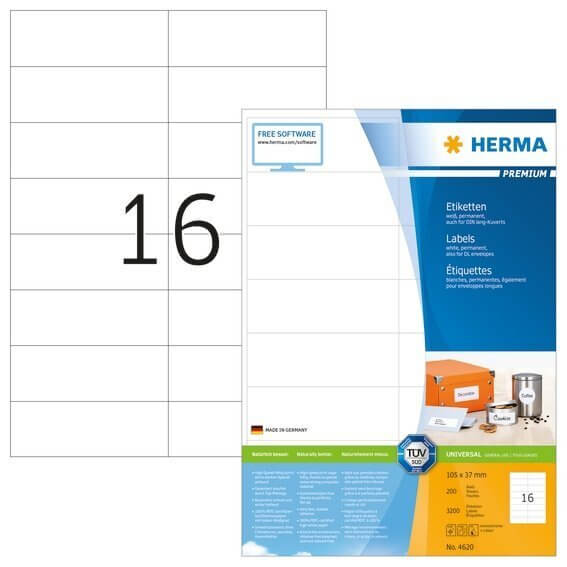 HERMA 4620 Etiketten Premium A4 105x37 mm weiß Papier matt 3200 Stück