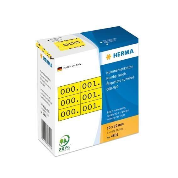 HERMA 4801 Nummernetiketten dreifach selbstklebend 10x22 mm gelb/schwarz