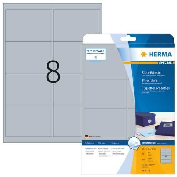 HERMA 4114 Etiketten A4 99,1x67,7 mm silber Folie glänzend 200 Stück