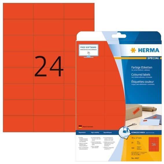 HERMA 4467 Farbige Etiketten A4 70x37 mm rot ablösbar Papier matt 480 Stück