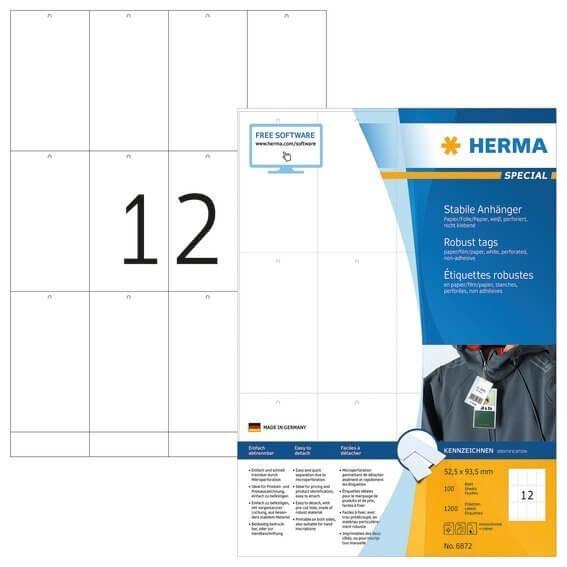 HERMA 6872 Stabile Anhänger A4 525x935 mm weiß Papier/Folie/Papier perforiert nicht klebend 1200 Stü