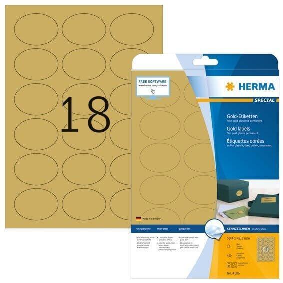 HERMA 4106 Etiketten A4 58,4x42,3 mm gold oval Folie glänzend 450 Stück