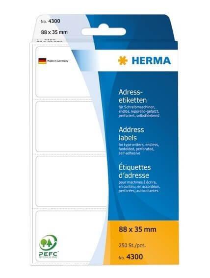 HERMA 4300 Adressetiketten für Schreibmaschinen endlos leporello-gefalzt 88x35 mm weiß Papier matt 2