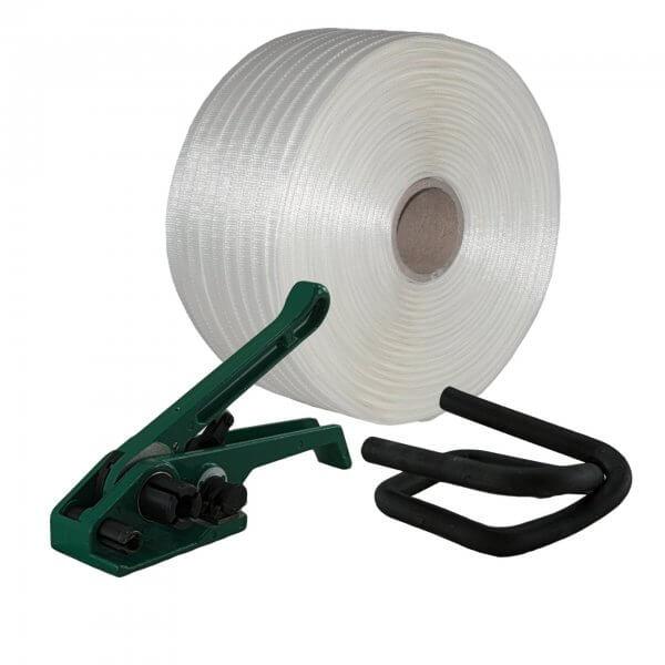 Umreifungsset 16 mm Textil gewebt Bandspanner Metallklemmen phosphatiert