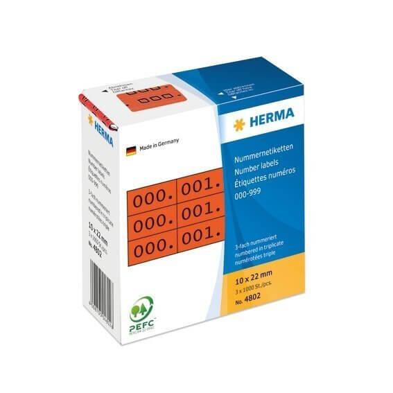 HERMA 4802 Nummernetiketten dreifach selbstklebend 10x22 mm rot/schwarz