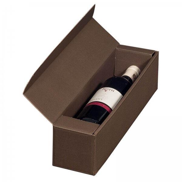 Geschenkkarton für 1 Flasche Wein 92 x 96 x 385 mm Braun