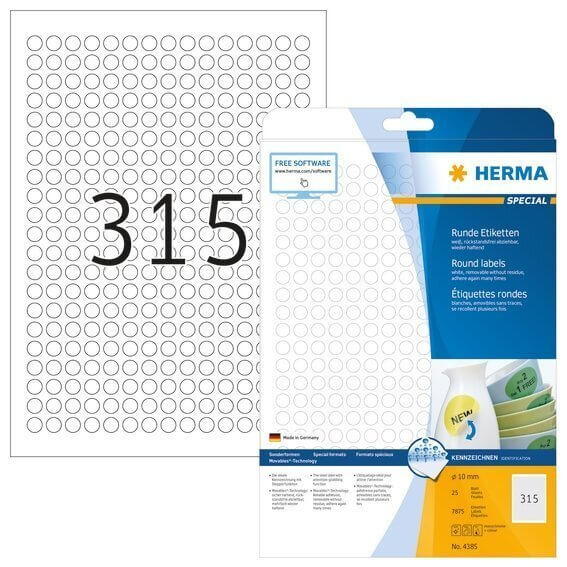 HERMA 4385 Ablösbare Etiketten A4 Ø 10 mm rund weiß Movables/ablösbar Papier matt 7875 Stück