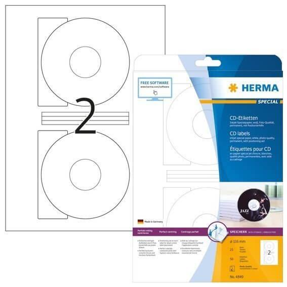 HERMA 4849 Inkjet CD-Etiketten A4 Ø 116 mm weiß Papier matt 50 Stück