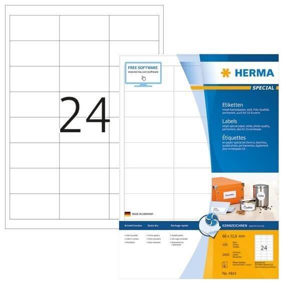 HERMA 4814 Inkjet-Etiketten A4 66x338 mm weiß Papier matt 2400 Stück