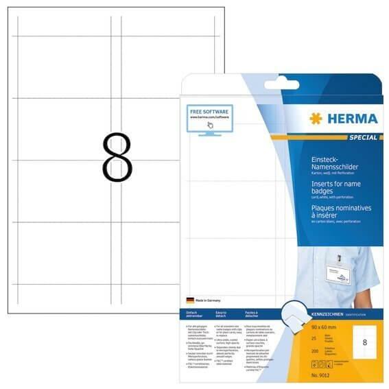 HERMA 9012 Namens-Einsteckschilder A4 90x60 mm weiß Karton nicht klebend 200 Stück