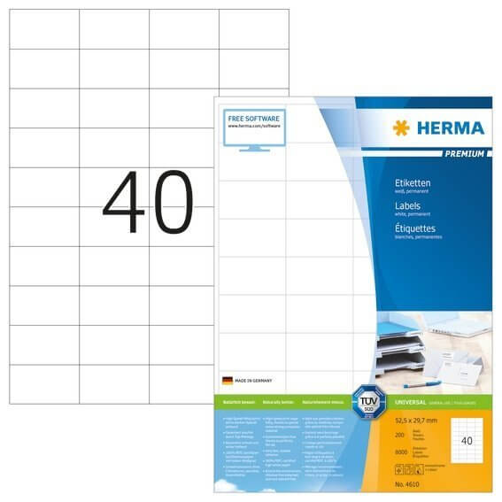 HERMA 4610 Etiketten Premium A4 525x297 mm weiß Papier matt 8000 Stück
