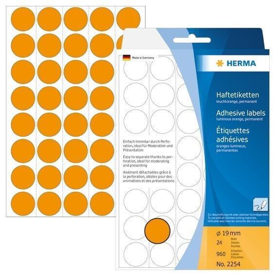 HERMA 2254 Vielzwecketiketten/Farbpunkte Ø 19 mm rund Papier matt Trägerpapier perforiert 960 Stück