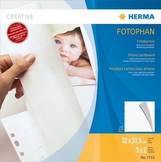 HERMA 7755 Fotokarton 320x315 mm weiß 5 Blatt