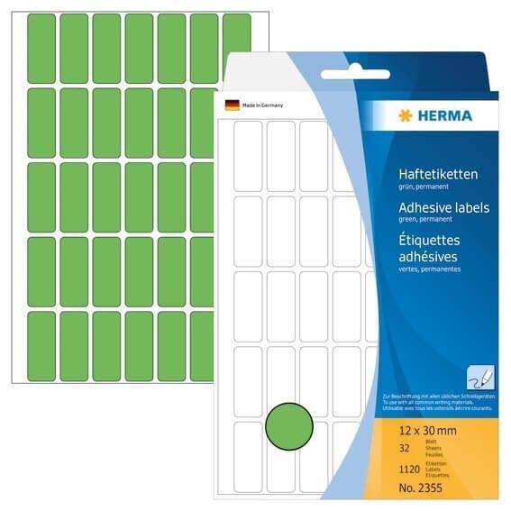 HERMA 2355 Vielzwecketiketten 12 x 30 mm Papier matt Handbeschriftung 1120 Stück Grün