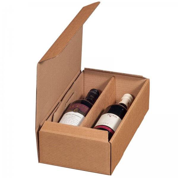 Geschenkkarton für 2 Flaschen Wein 192 x 95 x 360 mm Natur