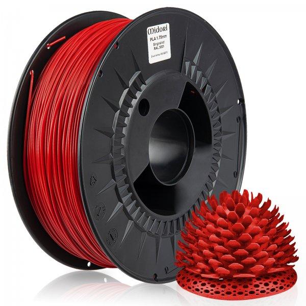 Midori® 3D PLA Filament 1,75mm 1kg Spule Signalrot RAL3001