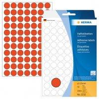 HERMA 2232 Vielzwecketiketten/Farbpunkte Ø 13 mm rund Papier matt Handbeschriftung 2464 Stück Rot