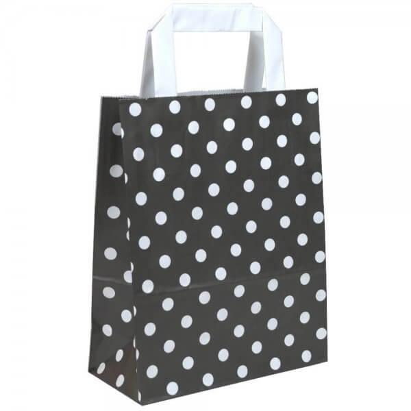 Papiertragetaschen 22 + 10 x 28 Schwarz gepunktet