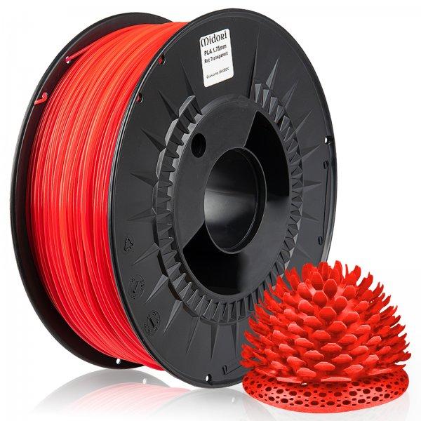 Midori® 3D PLA Filament 1,75mm 1kg Spule Rot Transparent