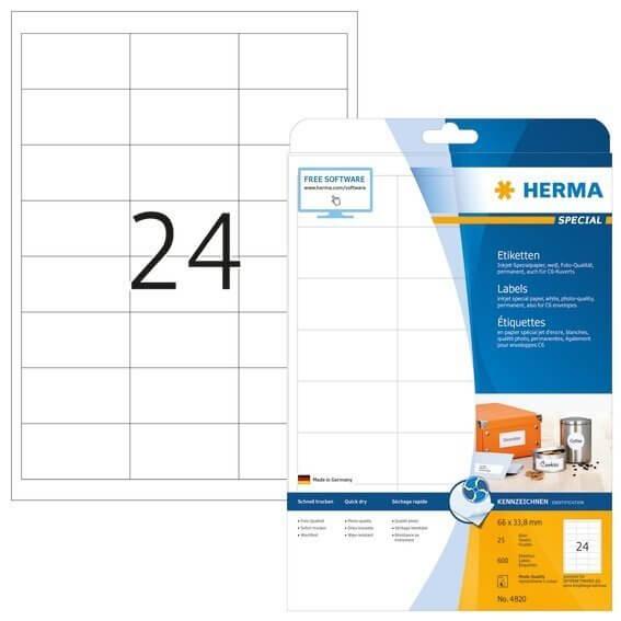 HERMA 4820 Inkjet-Etiketten A4 66x338 mm weiß Papier matt 600 Stück