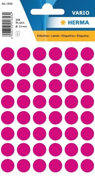 HERMA 1856 Vielzwecketiketten Ø 13 mm rund Papier matt 2400 Stück Pink
