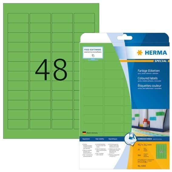 HERMA 4369 Farbige Etiketten A4 457x212 mm grün ablösbar Papier matt 960 Stück