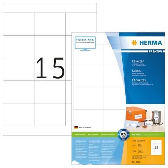 HERMA 4618 Etiketten Premium A4 70x508 mm weiß Papier matt 3000 Stück