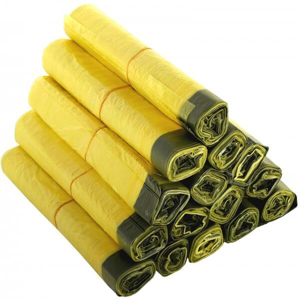 Gelber Sack 90 Liter aus HDPE mit Zugband