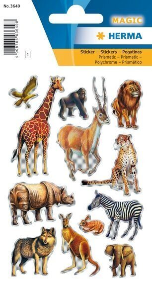 HERMA 3649 10x Sticker MAGIC Tiere Afrikas Prismaticfolie