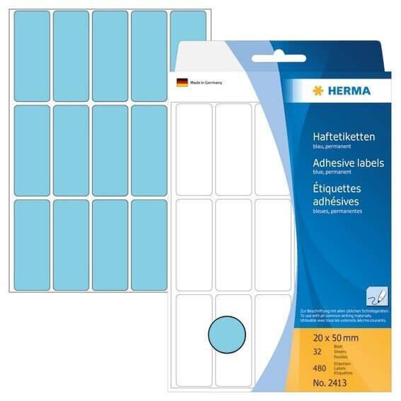 HERMA 2413 Vielzwecketiketten 20 x 50 mm Papier matt Handbeschriftung 480 Stück Blau