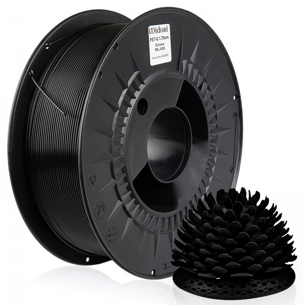 Midori® 3D PETG Filament 1,75mm 1kg Spule Schwarz RAL9005