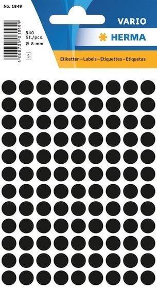 HERMA 1849 Vielzwecketiketten Ø 8 mm rund Papier matt 5400 Stück Schwarz