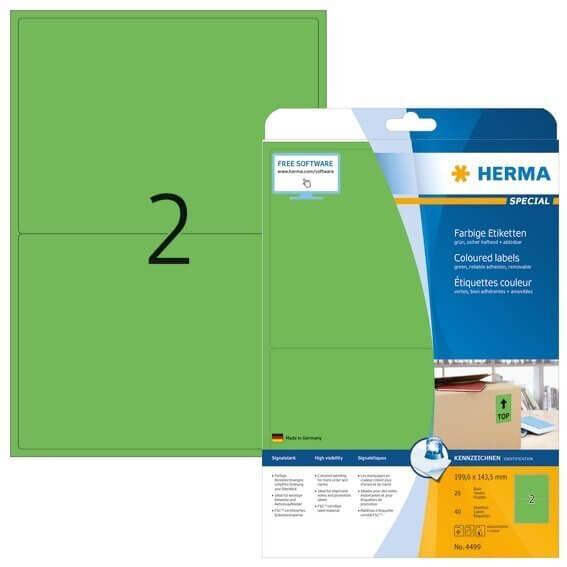 HERMA 4499 Farbige Etiketten A4 1996x1435 mm grün ablösbar Papier matt 40 Stück