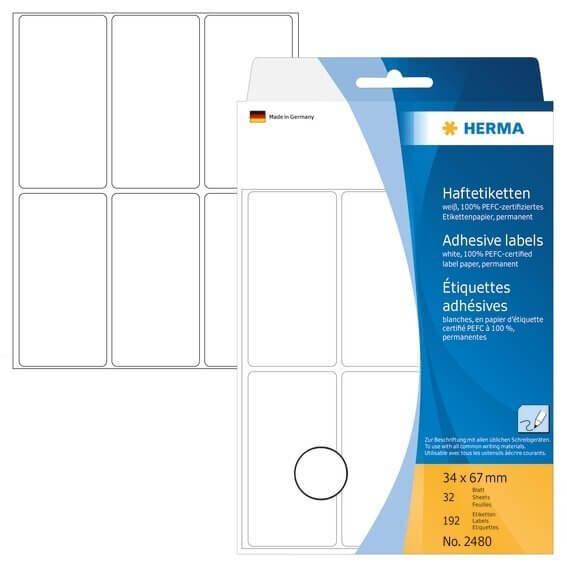 HERMA 2480 Vielzwecketiketten 34 x 67 mm Papier matt Handbeschriftung 192 Stück Weiß