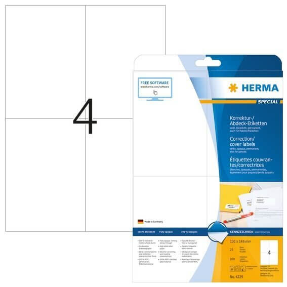 HERMA 4229 Korrektur-/Abdecketiketten A4 105x148 mm weiß Papier matt blickdicht 100 Stück