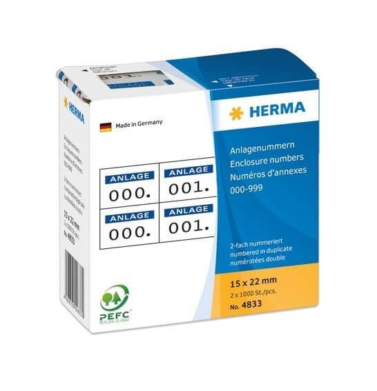 HERMA 4833 Anlagenummern selbstklebend 2-fach 15x22 mm Aufdruck dunkelblau 0-999