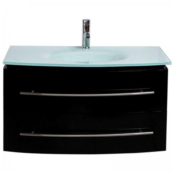 Midori Badmöbel Set Unterschrank Waschtisch Schwarz Hochglanz 90 cm