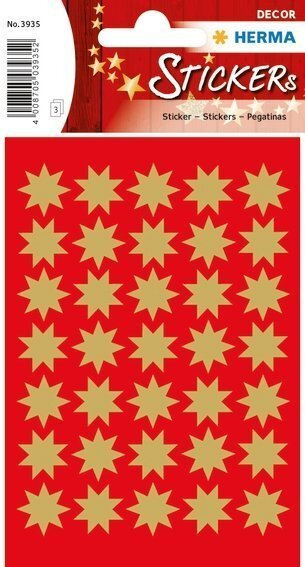 HERMA 3935 10x Sticker DECOR Sterne 8-zackig gold Ø 16 mm