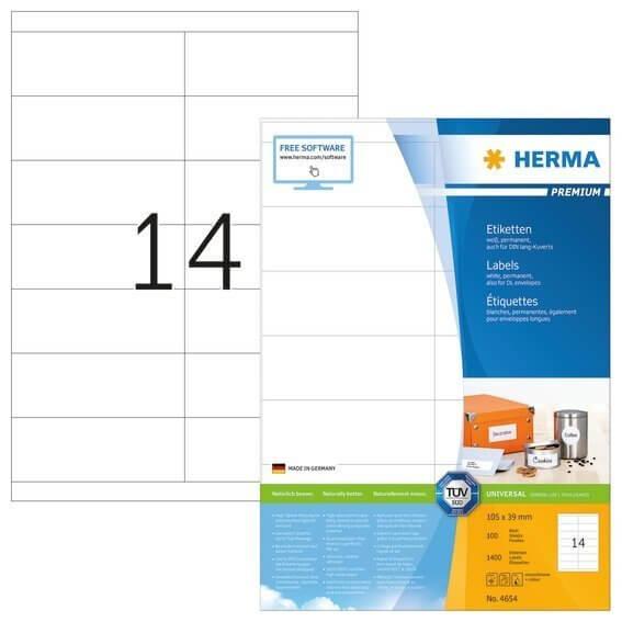 HERMA 4654 Etiketten Premium A4 105x39 mm weiß Papier matt 1400 Stück