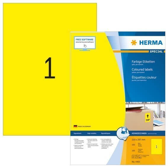 HERMA 4401 Farbige Etiketten A4 210x297 mm gelb Papier matt 100 Stück