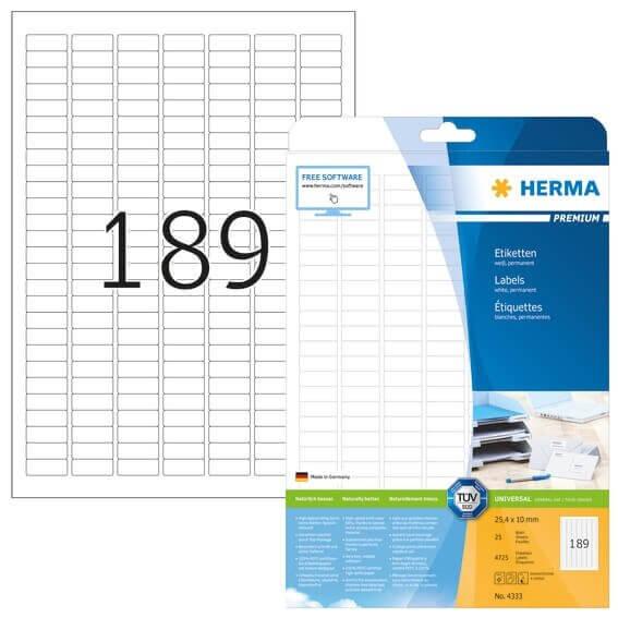 HERMA 4333 Etiketten Premium A4 254x10 mm weiß Papier matt 4725 Stück