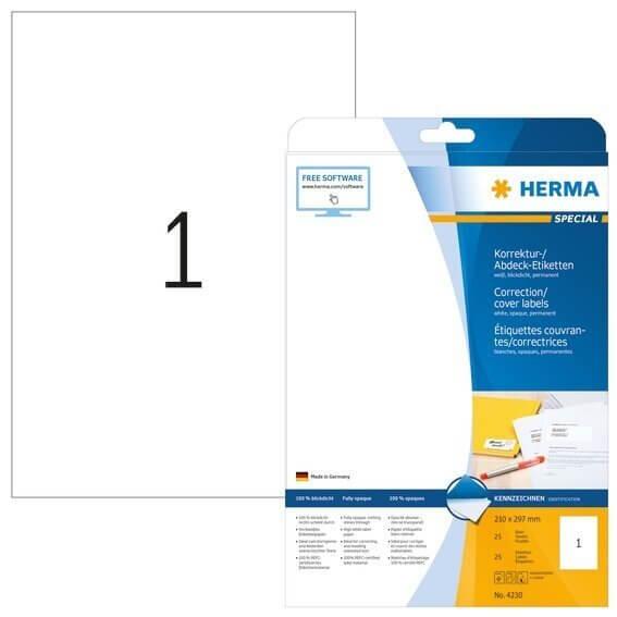 HERMA 4230 Korrektur-/Abdecketiketten A4 210x297 mm weiß Papier matt blickdicht 25 Stück