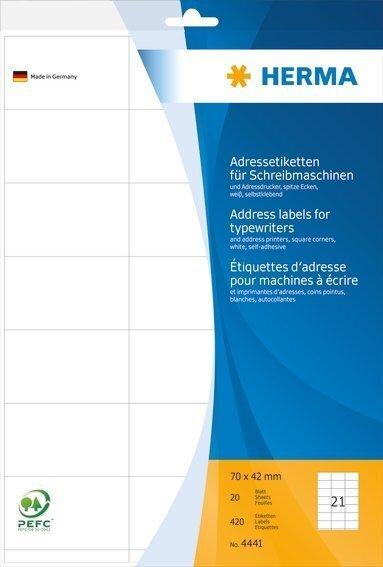 HERMA 4441 Adressetiketten für Schreibmaschinen A4 70x42 mm Papier matt Ecken spitz 420 Stück