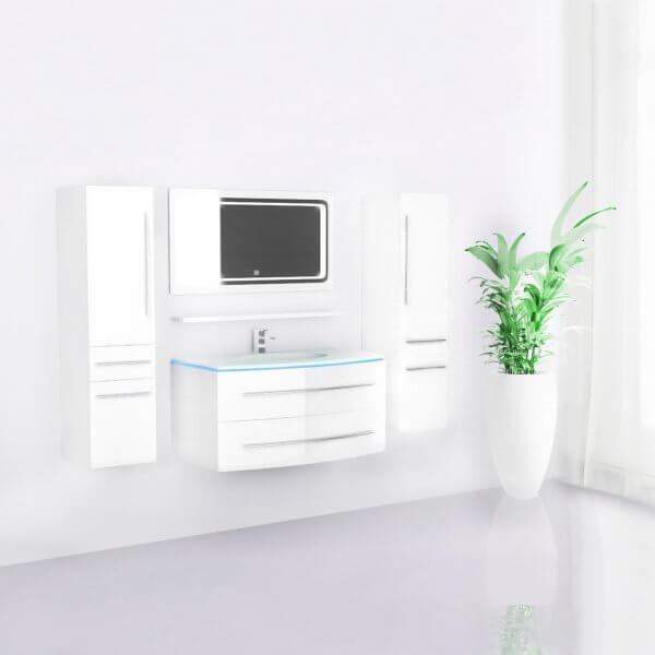 Midori Badmöbel Set Hochschränke Spiegel Weiß Hochglanz 90 cm