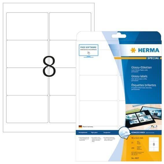 HERMA 4907 Etiketten A4 96x635 mm weiß Papier glänzend 200 Stück