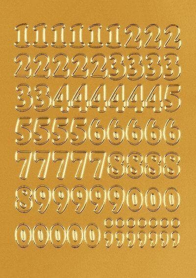 HERMA 4184 Zahlen 12 mm 0-9 Folie gold 10 Bl.