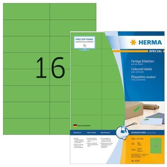 HERMA 4259 Farbige Etiketten A4 105x37 mm grün Papier matt 1600 Stück